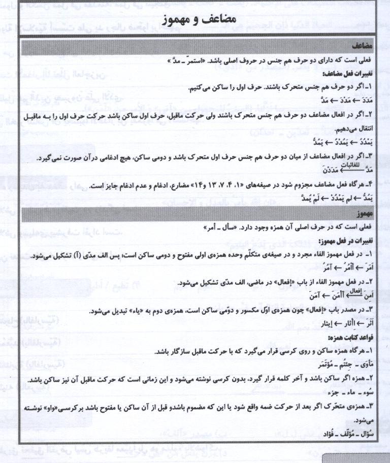 عربي براي دبيرستان... انوع اعراب فعل مضارع عربی سال سوم فنی مربوط به امتحان نوبت اول