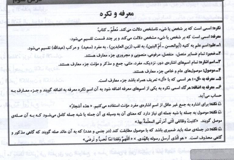 عربي براي دبيرستانمعرفه و نكره عربی سال دوم تمام رشته مربوط به دروس نوبت اول